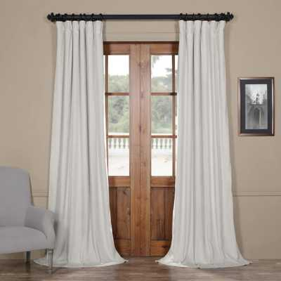 Exclusive Fabrics & Furnishings Blackout Signature Reflection Grey Blackout Velvet Curtain - 50 in. W x 96 in. L (1 Panel) - Home Depot
