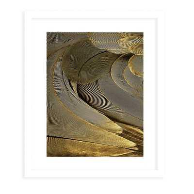 'Feather Gold' Framed Graphic Art Print - Wayfair