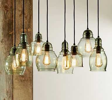 Paxton Hand Blown Glass 8-Light Pendant - 8' Ceiling - Pottery Barn
