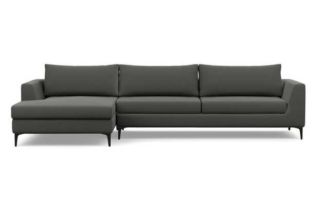 Asher Chaise Sectional with Charcoal Fabric and Matte Black legs - Interior Define