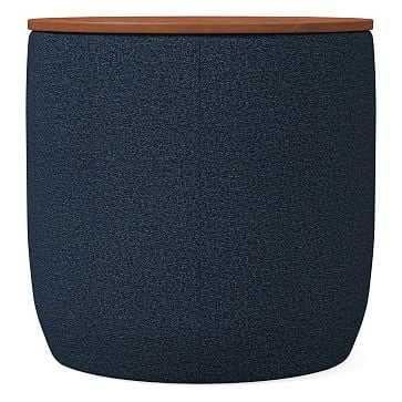 Upholstered Storage Base Ottoman - Small, Poly, Chenille Tweed, Nightshade, Dark Mineral - West Elm