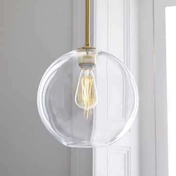 Sculptural Glass Globe Pendant, Medium Globe, Clear Shade, Brass Canopy - West Elm