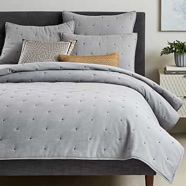 Organic Oxford Quilt, King, Slate - West Elm