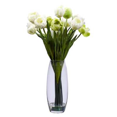 20 in. H White Tulip with Vase Silk Flower Arrangement - Home Depot