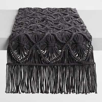 Black Macrame Table Runner - Cotton by World Market - World Market/Cost Plus