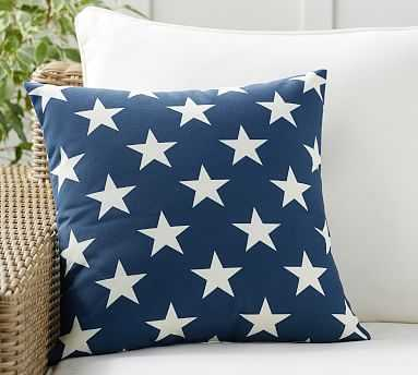 """Printed Star Indoor/Outdoor Pillow, 18"""", Blue Multi - Pottery Barn"""