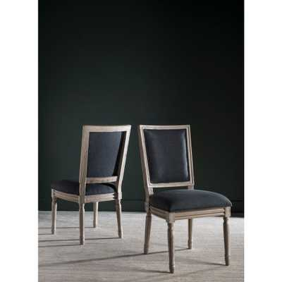 Buchanan Rectangular Linen Chair in Charcoal and Rustic Grey Finish (2-Pack), Grey/Rustic Gray - Home Depot