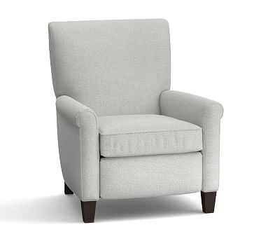 Irving Upholstered Recliner without Nailheads, Polyester Wrapped Cushions, Basketweave Slub Ash - Pottery Barn