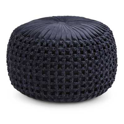 Renee Navy (Blue) Round Pouf - Home Depot