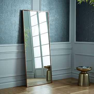 Metal Framed Floor Mirror, Rose Gold - West Elm