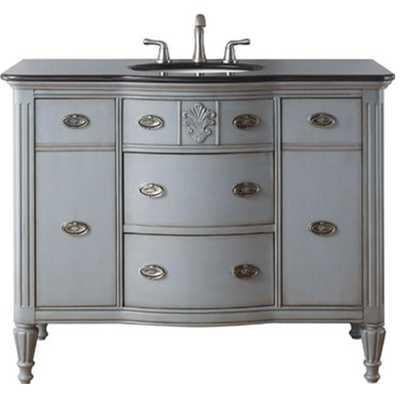 Home Decorators Collection Wellington 44 in. W x 22 in. D Bath Vanity in Worn Grey with Granite Vanity Top in Black - Home Depot