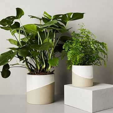 Half-Dipped Planter, Grey, Small - West Elm