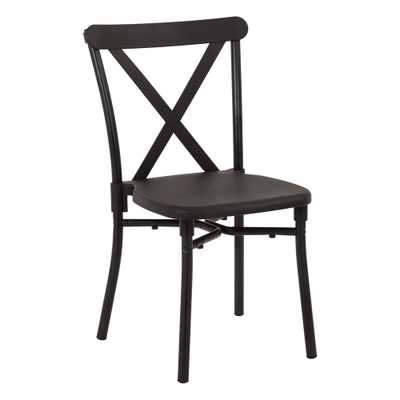Black Aluminum Stacking Dining Chair (4-Pack) - Home Depot