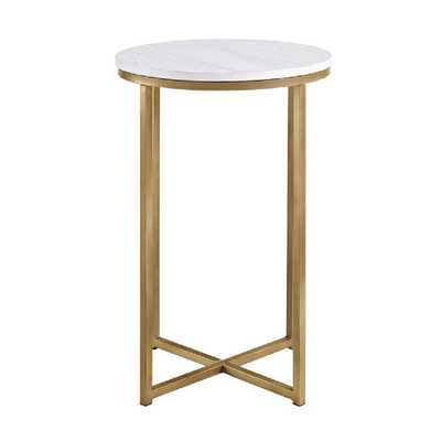 16 in. Marble/Gold Round Side Table - Home Depot