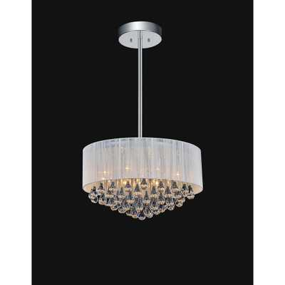CWI Lighting Water Drop 9-Light Chrome Chandelier with White shade - Home Depot