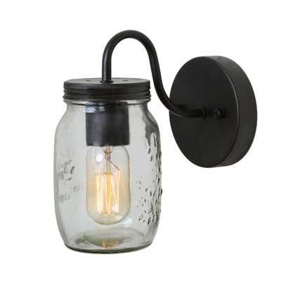 LNC 1-Light Bronze Mason Jars Wall Sconce - Home Depot