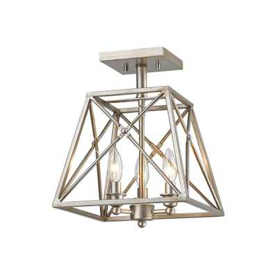 Filament Design Avram 3-Light Antique Silver Semi-Flushmount with Antique Silver Steel Shade - Home Depot