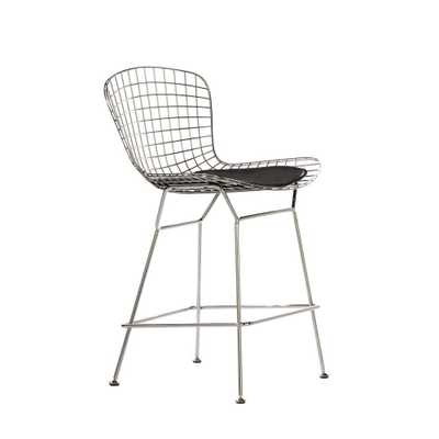 James 24 in. Black Cushioned Counter Stool in Chrome (Grey) with Back - Home Depot