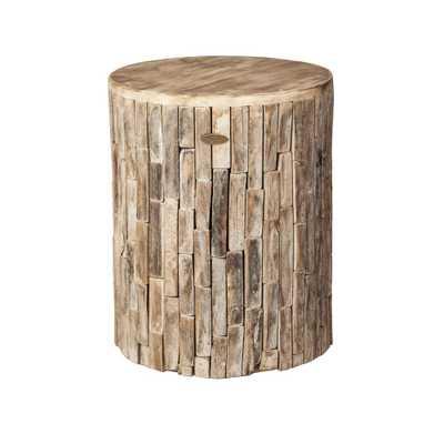 Patio Sense Elyse Round Wood Outdoor Garden Stool - Home Depot