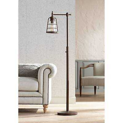 Rustic Farmhouse Floor Lamp Oil Rubbed Bronze Seedy Glass For Living Room - eBay