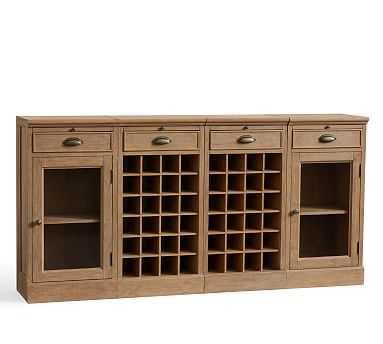 4-Piece Modular Bar Buffet(2 Wine Grid Bases & 2 Glass Door Cabinet Base), Seadrift - Pottery Barn