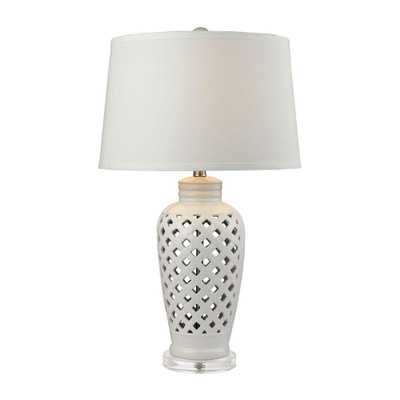 Titan Lighting Openwork 27 in. White Ceramic Table Lamp with White Shade - Home Depot