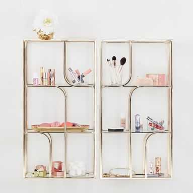 Benefit Gorgeous Glass Shelves, Gold, Set of 2 - Pottery Barn Teen