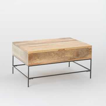Industrial Storage Coffee Table, Small, Raw Mango - West Elm