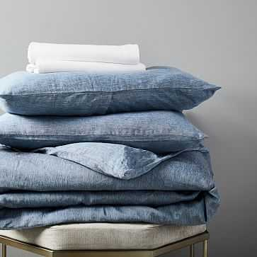 Belgian Flax Linen Melange Bedding Set, King Shadow Blue/White - West Elm