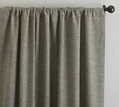 "Emery Linen Poletop Drape w/Blackout, 50x96"", Sage Grass - Pottery Barn"