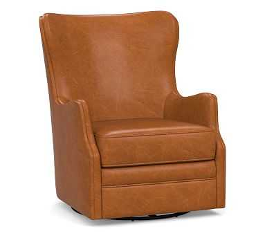 Oliver Wingback Leather Swivel Armchair without Nailheads, Polyester Wrapped Cushions, Leather Vintage Caramel - Pottery Barn