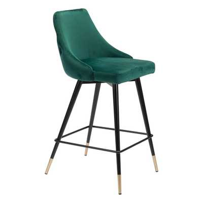 ZUO Piccolo 36.4 in. Green Velvet Counter Chair - Home Depot