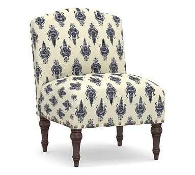 Monroe Upholstered Slipper Chair, Polyester Wrapped Cushions, Chaaya Print Blue - Pottery Barn