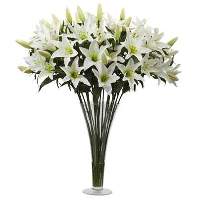 Lily Arrangement with Flared Vase - Home Depot