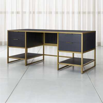 Oxford Black Executive Desk with Power Outlet - Crate and Barrel