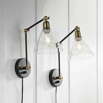 Wray Black And Brass Glass Shade Plug-In Wall Lamp Set Of 2 - eBay