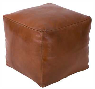 Casablanca Market Moroccan Leather Pouf: Tobacco - eBay
