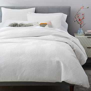 Organic Modern Geo Duvet Cover, King, White - West Elm