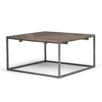 Avery Distressed Java Brown Wood Inlay Square Coffee Table - Home Depot