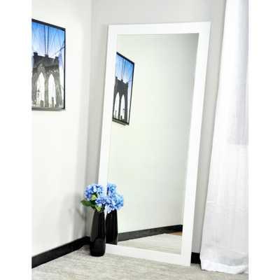 Modern Matte White Tall Framed Mirror - Home Depot