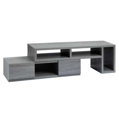 Gray Adjustable TV Stand Console for TV's up to 65 in. - Home Depot