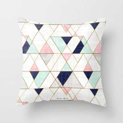 """Mod Triangles - Navy Blush Mint Throw Pillow - Outdoor Cover (18"""" x 18"""") with pillow insert by Crystalwalen - Society6"""