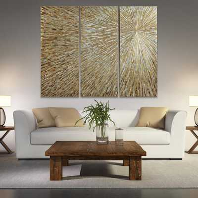 """Empire Art Direct 48 in. x 20 in. """"Sunshine"""" Textured Metallic Hand Painted by Martin Edwards Wall Art (Set of 3), Gold - Home Depot"""