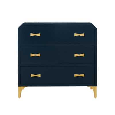 Accentrics Home Clip Corner Blue/Gold Three Drawer Chest - Home Depot