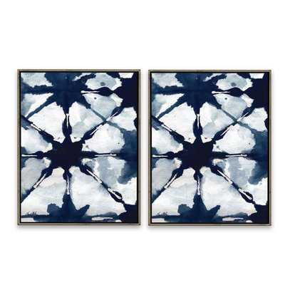'Shibori Deep' 2 Piece Framed Graphic Art Print Set on Canvas in Blue/Gray - AllModern