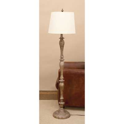 65 in. Tapered Polystone Floor Lamp in Polished Brown Finish - Home Depot