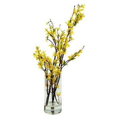Faux Forsythia Floral Arrangement in Decorative Vase - Birch Lane