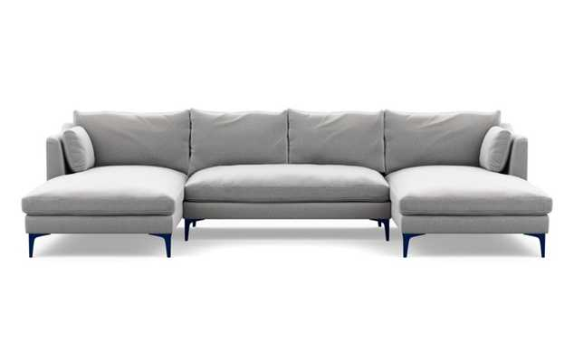 Caitlin by The Everygirl U-Sectional with Ash Fabric and Matte Indigo legs - Interior Define