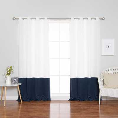 Best Home Fashion 96 in. L Polyester Oxford Navy Colorblock Curtains in White (2-Pack) - Home Depot