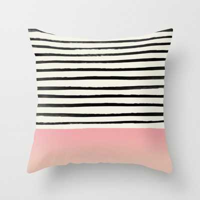 "Blush x Stripes Throw Pillow - Indoor Cover (18"" x 18"") with pillow insert by Floresimagespdx - Society6"